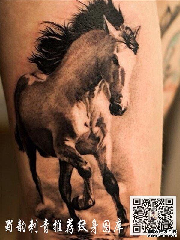 马纹身 大腿纹身 攀枝花蜀韵纹身 攀枝花纹身